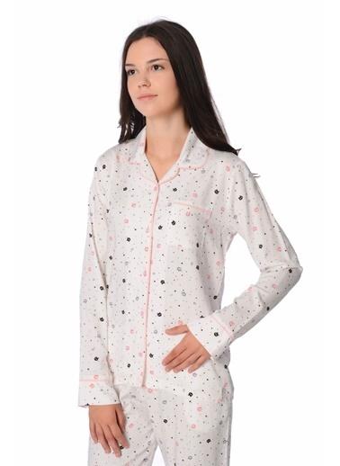 Pierre Cardin Pierre Cardin Kadın Gömlek Pijama Takımı Ekru Ekru